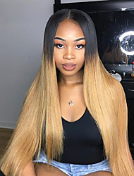 cheap -Human Hair Glueless Full Lace Full Lace Wig Rihanna style Brazilian Hair Straight Ombre Two Tone Wig 130% Density with Baby Hair Ombre Hair Natural Hairline African American Wig 100% Hand Tied Women's