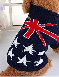 cheap -Dog Sweater Dog Clothes Stars Dark Blue Fabric Costume For Spring &  Fall Winter Men's Casual / Daily
