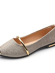 cheap -Women's Flats Comfort Shoes Flat Heel Pointed Toe Sweet Dress Walking Shoes PU Pearl Sparkling Glitter Buckle Solid Colored Summer Black Gold Silver / EU39