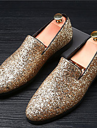 cheap -Men's Moccasin Glitter Summer / Fall British Loafers & Slip-Ons Gold / Silver / Black / Sparkling Glitter / Wedding / Party & Evening / Wedding / Party & Evening