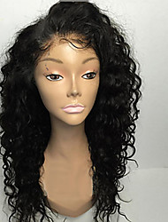 cheap -Remy Human Hair Glueless Lace Front Lace Front Wig style Brazilian Hair Curly Natural Black Wig 130% 150% 180% Density 8-26 inch with Baby Hair Natural Hairline African American Wig 100% Hand Tied