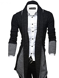 cheap -Men's Daily / Going out / Weekend Street chic Color Block Long Sleeve Slim Long Cardigan Sweater Jumper, Shirt Collar Fall / Winter Wine / Light gray / Dark Gray M / L / XL