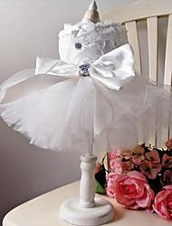 cheap -Dog Dress Dog Clothes White Costume Chiffon Princess Wedding