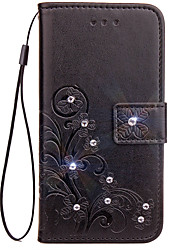 cheap -Case For LG G3 / LG / LG G4 LG G6 Wallet / Card Holder / Rhinestone Full Body Cases Solid Colored Hard PU Leather