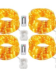 cheap -20m String Lights 200 LEDs Warm White White Multi Color Waterproof Christmas Remote Control RC <5 V IP65 Dimmable Color-Changing