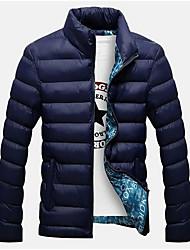 cheap -Men's Daily Solid Colored Regular Padded, Cotton Long Sleeve Black / Navy Blue / Khaki XXL / XXXL / 4XL