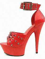 cheap -Women's Heels Stiletto Heel Peep Toe Rivet / Buckle PU(Polyurethane) Formal Shoes Summer Black / Red / Party & Evening / Party & Evening