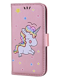cheap -Case For LG K8 / LG / LG K7 Wallet / Card Holder / with Stand Full Body Cases Unicorn / Glitter Shine Hard PU Leather / LG K10