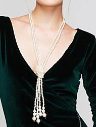 cheap -Women's Pearl Beaded Necklace Y Necklace Long Necklace Layered Lariat Ladies Elegant Multi Layer Pearl Imitation Pearl White Necklace Jewelry For Wedding Party Daily Casual / Pearl Necklace