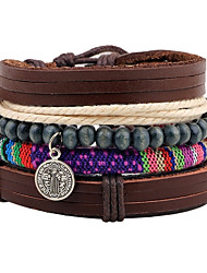 cheap -Men's Bead Bracelet Wrap Bracelet Leather Bracelet Rope Personalized Wooden Bracelet Jewelry Brown For Christmas Gift Stage Street Club