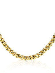cheap -Men's Women's Choker Necklace Geometrical Twisted Foxtail chain Statement Luxury Natural Gothic Gold Plated Yellow Gold 18K Gold Gold Necklace Jewelry For Christmas Casual Formal Club