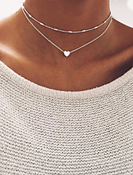 cheap -Women's Choker Necklace Beads Double Heart Ladies Basic Alloy Gold Silver Necklace Jewelry For Wedding Party Birthday Gift Daily Casual