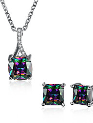 cheap -Women's Cubic Zirconia Jewelry Set Drop Ladies Unique Design Zircon Earrings Jewelry Light Black For Wedding Office / Career Daily