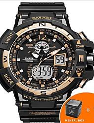 Недорогие -SMAEL Муж. электронные часы Морские часы с печатью Японский силиконовый Черный 50 m Защита от влаги Календарь Творчество Аналого-цифровые Роскошь На каждый день Кольцеобразный Элегантный стиль -
