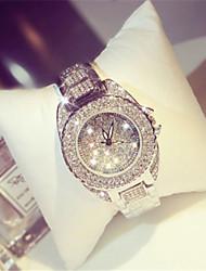 cheap -Women's Simulated Diamond Watch Quartz Alloy Band Sparkle Silver