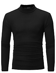 cheap -Men's Plus Size Graphic Solid Colored Slim T-shirt - Cotton Basic Daily Weekend Turtleneck White / Black / Blue / Light gray / Dark Gray / Brown / Navy Blue / Fall / Long Sleeve
