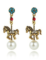 cheap -Women's Synthetic Sapphire Drop Earrings Horse Ladies Personalized Fashion Earrings Jewelry Gold For Party Gift Evening Party Stage Engagement