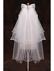 cheap -Two-tier Pencil Edge Wedding Veil Elbow Veils with Ruffles Tulle / Classic
