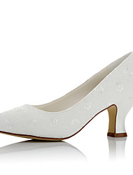 cheap -Women's Wedding Shoes Chunky Heel Round Toe Satin Comfort Fall / Winter Ivory / Party & Evening