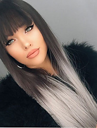 cheap -Synthetic Wig Straight Straight Silky Straight With Bangs Wig Medium Length Black / Grey Synthetic Hair Women's With Ponytail Black Grey Ombre