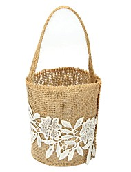 "cheap -Flower Basket Linen 9 7/8"" (25 cm) Lace / Flower 1 pcs"