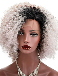 cheap -Synthetic Lace Front Wig Kinky Curly Kinky Curly Bob Lace Front Wig Short Black#1B Synthetic Hair Natural Hairline Brown