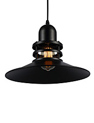 cheap -1-Lights Black Metal Shade Pendant Light Retro Industrial Pendant Light Country Style Diameter 30cm