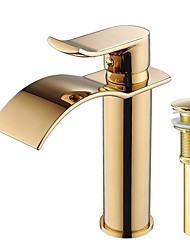 cheap -Faucet Set - Waterfall Ti-PVD Centerset Single Handle One HoleBath Taps