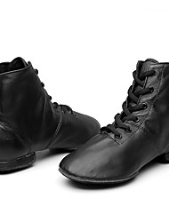 cheap -Men's / Women's Dance Shoes Leather Jazz Shoes Boots Flat Heel Customizable Black / Performance