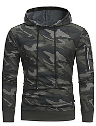 cheap -Men's Plus Size Hoodie Camo / Camouflage Hooded Active / Military Sports - Long Sleeve Slim Green Gray M L XL XXL XXXL