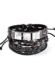 cheap -Men's Women's Leather Bracelet Geometrical woven Personalized Basic Simple Style Rock Gothic Leather Bracelet Jewelry Black For Wedding Daily Stage School Holiday Work
