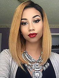 cheap -Remy Human Hair Glueless Lace Front Lace Front Wig Bob style Brazilian Hair Straight Wig 130% Density with Baby Hair Faux Locs Wig Natural Hairline African American Wig 100% Hand Tied Women's Short