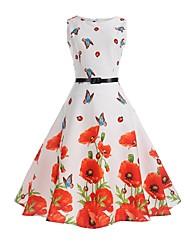 cheap -Women's Sheath Dress Knee Length Dress - Sleeveless Butterfly Floral Print Summer Vintage Holiday Work Cotton Floral White S M L XL XXL