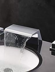 cheap -Bathroom Sink Faucet - Waterfall / Widespread Chrome Widespread Two Handles Three HolesBath Taps / Brass