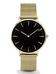 Недорогие -Мужчина женщина Наручные часы золотые часы Кварцевый Нержавеющая сталь Черный / Серебристый металл / Золотистый Повседневные часы Аналоговый Дамы На каждый день Мода минималист - / Один год