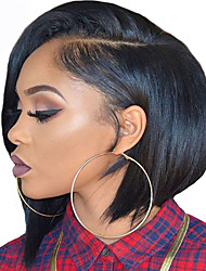 cheap -Synthetic Lace Front Wig Straight Yaki Straight Yaki Bob L Part Wig Short Black#1B Synthetic Hair Natural Hairline Brown