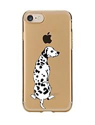 Недорогие -Кейс для Назначение Apple iPhone 7 Plus / iPhone 7 / iPhone 6s Plus Прозрачный / С узором Кейс на заднюю панель С собакой Мягкий ТПУ