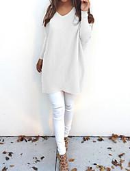 Недорогие -Жен. Повседневные Однотонный Длинный рукав Свободный силуэт Длинный Пуловер, V-образный вырез Осень / Зима Желтый / Хаки / Тёмно-синий M / L / XL