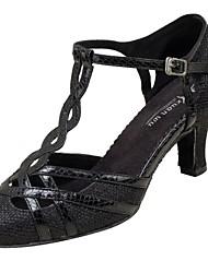 cheap -Women's Modern Shoes / Ballroom Shoes Net / Leatherette Buckle Sandal / Heel Buckle Customized Heel Customizable Dance Shoes Black / Silver / Professional / EU42