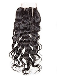 cheap -4x4 Closure Kinky Curly Free Part / Middle Part / 3 Part Swiss Lace Human Hair