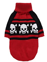 cheap -Cat Dog Coat Sweater Christmas Winter Dog Clothes Red Costume Spandex Cotton / Linen Blend Skull Party Cosplay Casual / Daily XS S M L XL XXL