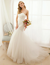 cheap -Mermaid / Trumpet Sweetheart Neckline Sweep / Brush Train Tulle Strapless Open Back Made-To-Measure Wedding Dresses with Button / Criss-Cross 2020