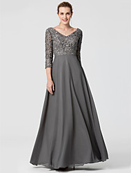 cheap -A-Line Elegant Open Back Prom Formal Evening Dress V Neck 3/4 Length Sleeve Floor Length Chiffon Lace with Lace 2020
