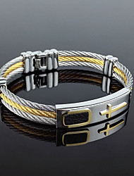 cheap -Men's Bracelet Two tone Rock Gothic Fashion Titanium Steel Bracelet Jewelry Gold / Silver For Party Birthday Gift Daily Evening Party