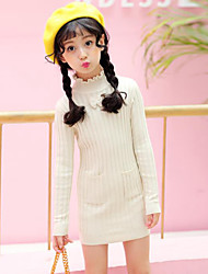 cheap -Girls' Bow Stripes Solid Colored Striped Long Sleeve Dress Black