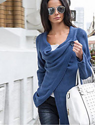 cheap -Women's Daily Solid Colored Long Sleeve Loose Regular Pullover Sweater Jumper, Round Neck Fall / Winter Black / Blue / Dark Gray S / M / L
