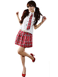 cheap -Student / School Uniform Cosplay Costume Women's School Uniforms Halloween Carnival Festival / Holiday Polyester Beige / Red / Blue Carnival Costumes Plaid