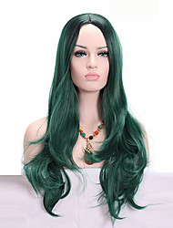 cheap -Synthetic Wig Wavy Wavy Wig Medium Length Green Synthetic Hair African American Wig Green