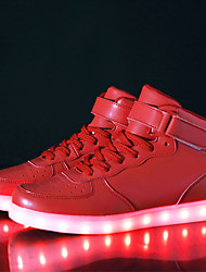 cheap -Women's Sneakers Plus Size Low Heel LED Comfort LED Shoes Athletic Outdoor Hook & Loop LED Leatherette Walking Shoes Winter White / Black / Red / EU42