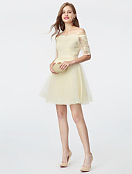 cheap -A-Line Off Shoulder Short / Mini Lace / Tulle Cute / Pastel Colors Cocktail Party / Homecoming Dress with Appliques / Sash / Ribbon 2020 / Illusion Sleeve